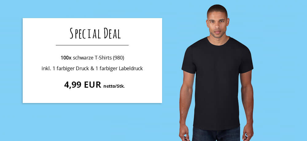 special deal 4 49 netto stk f r 100 wei e t shirts inkl labeldruck. Black Bedroom Furniture Sets. Home Design Ideas