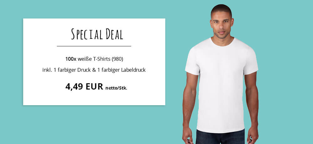 info for 5859e 74486 Special Deal - 4,49€ netto/Stk. für 100 weiße T-Shirts inkl ...